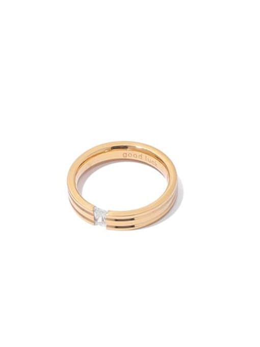 golden Brass Cubic Zirconia Round Minimalist Band Ring