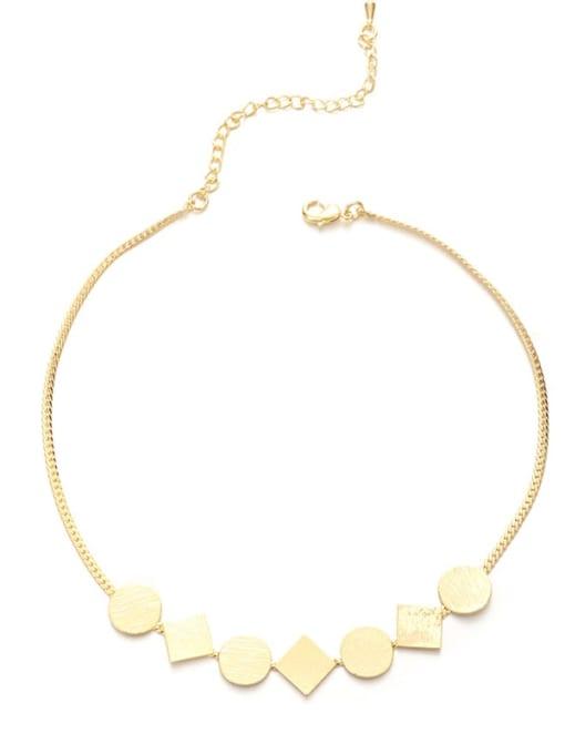 Five Color Brass Geometric Minimalist Necklace 0