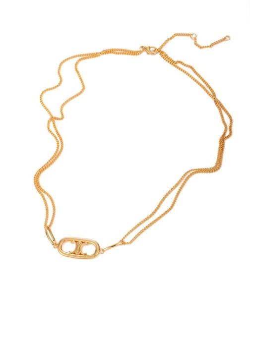 Five Color Brass Geometric Hip Hop Multi Strand Hollow Chain Necklace
