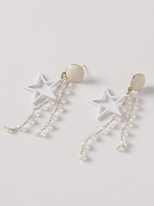 HYACINTH Brass Enamel Five Pointed Star Crystal Tassel Earrings 4