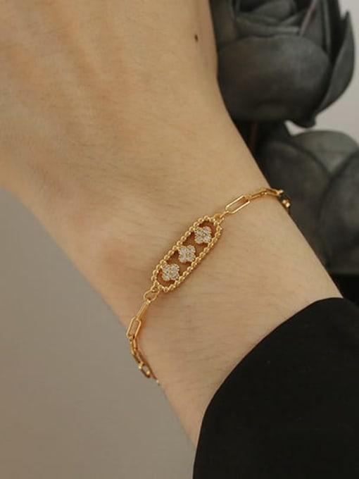 ACCA Brass Cubic Zirconia Geometric Vintage Link Bracelet 1