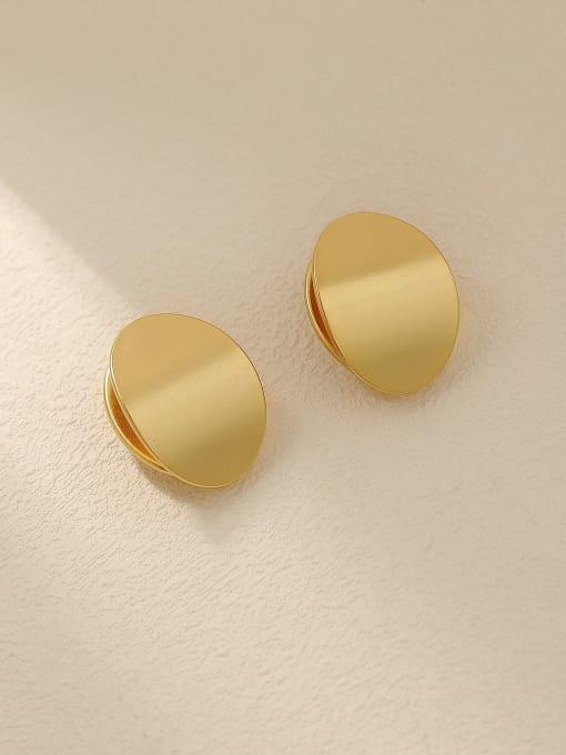 Dumb gold Brass Smooth Geometric Minimalist Stud Trend Korean Fashion Earring
