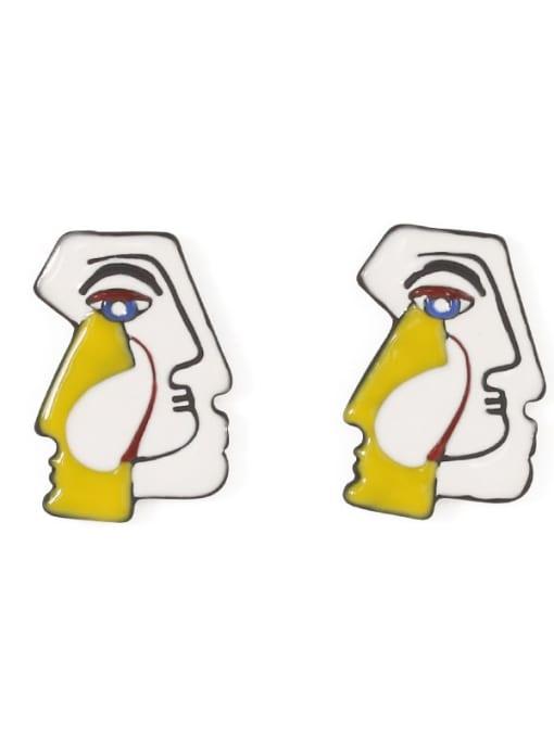 Five Color Alloy Enamel Irregular Cute Stud Earring 4