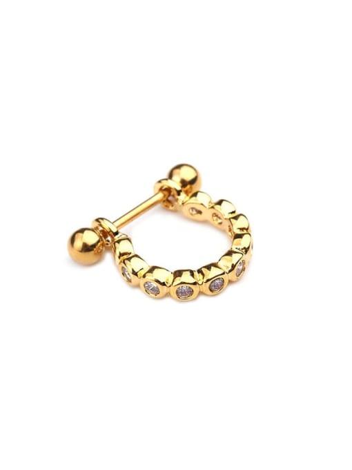 Gold 3# Brass Cubic Zirconia Irregular Minimalist Huggie Earring