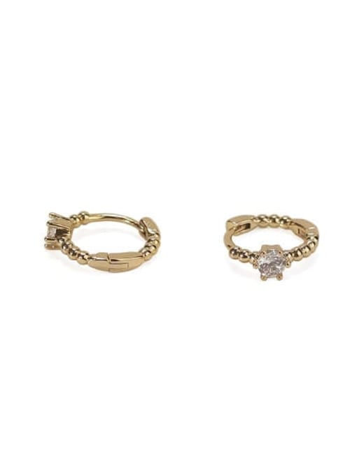 ACCA Brass Cubic Zirconia Geometric Vintage Stud Earring 2