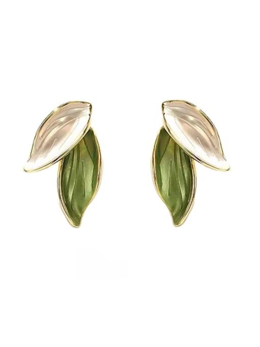 HYACINTH Brass Enamel Tree Minimalist Clip Earring 2