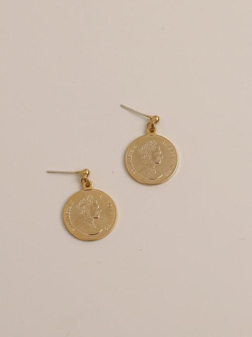 Short gold Brass Geometric Vintage  Portrait Drop Earring