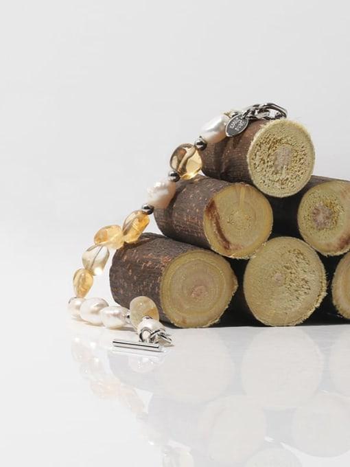 TINGS Brass Freshwater Pearl Geometric Hip Hop Beaded Bracelet 2