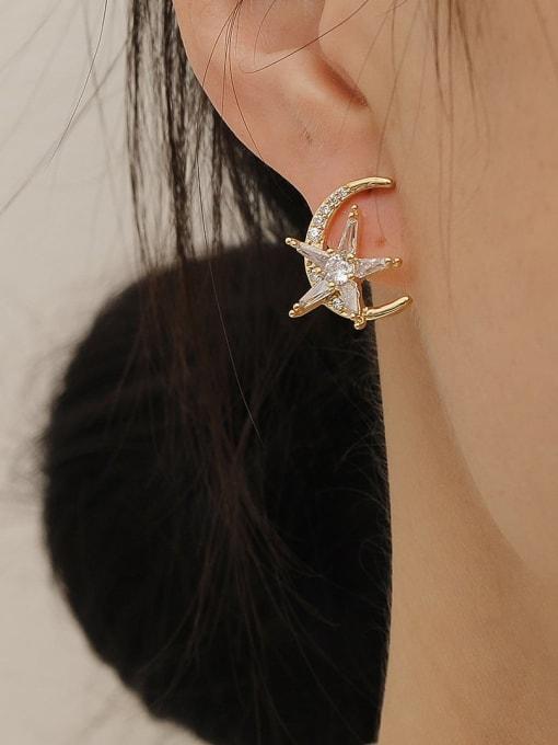 HYACINTH Brass Cubic Zirconia Moon Vintage Stud Trend Korean Fashion Earring 1