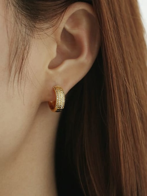 TINGS Brass Cubic Zirconia Geometric Hip Hop Huggie Earring(single) 1