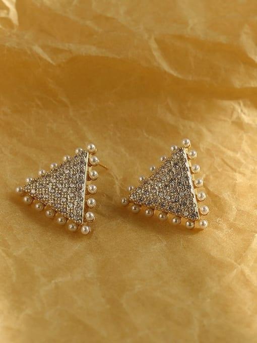 HYACINTH Brass Cubic Zirconia Triangle Vintage Stud Earring