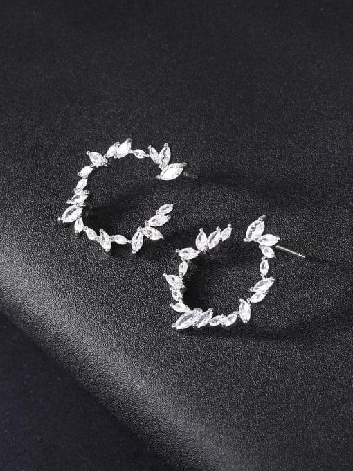 platinum Brass Cubic Zirconia Geometric Minimalist Stud Earring