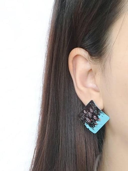 Five Color Alloy Enamel Geometric Hip Hop Stud Earring 1