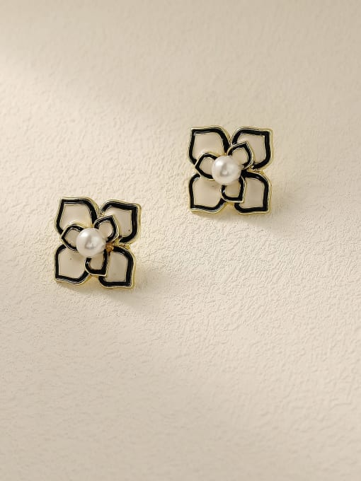 14k Gold Brass Enamel Flower Vintage Stud Trend Korean Fashion Earring