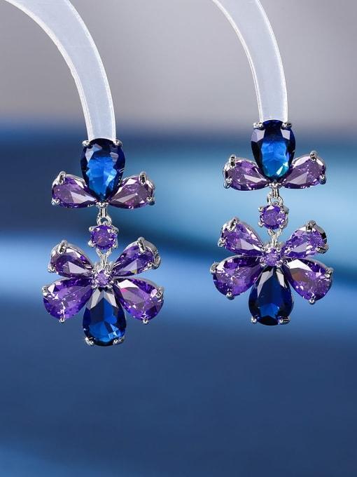 OUOU Brass Cubic Zirconia Flower Luxury Drop Earring