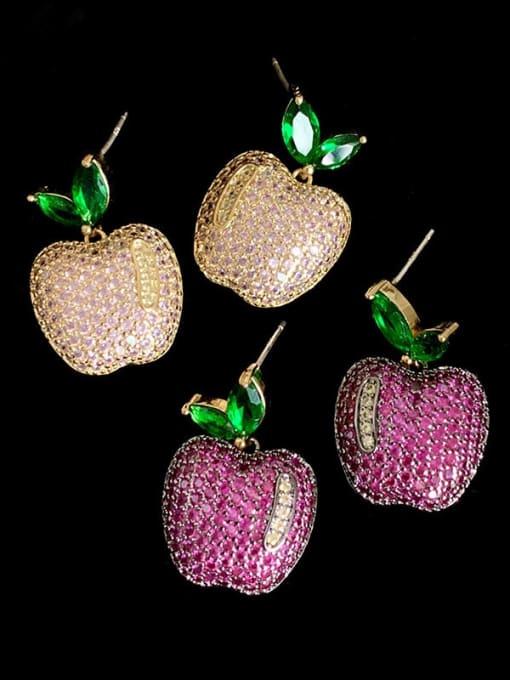 SUUTO Brass Cubic Zirconia Friut Vintage Stud Earring