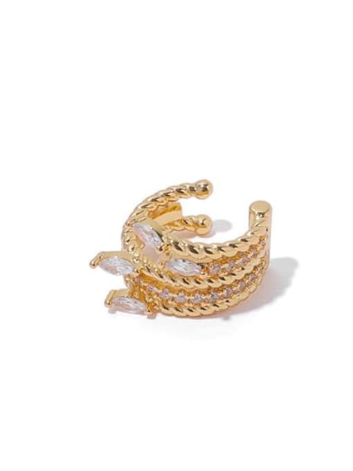Gold single sale Brass Cubic Zirconia Geometric Hip Hop Single Earring