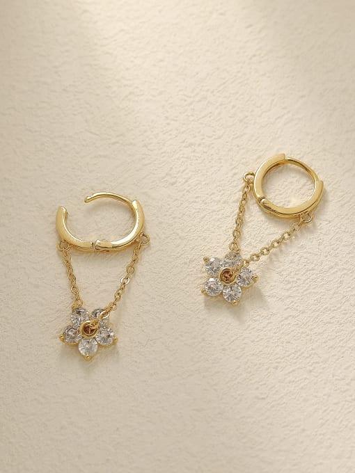 HYACINTH Brass Cubic Zirconia Flower Vintage Huggie Trend Korean Fashion Earring 3