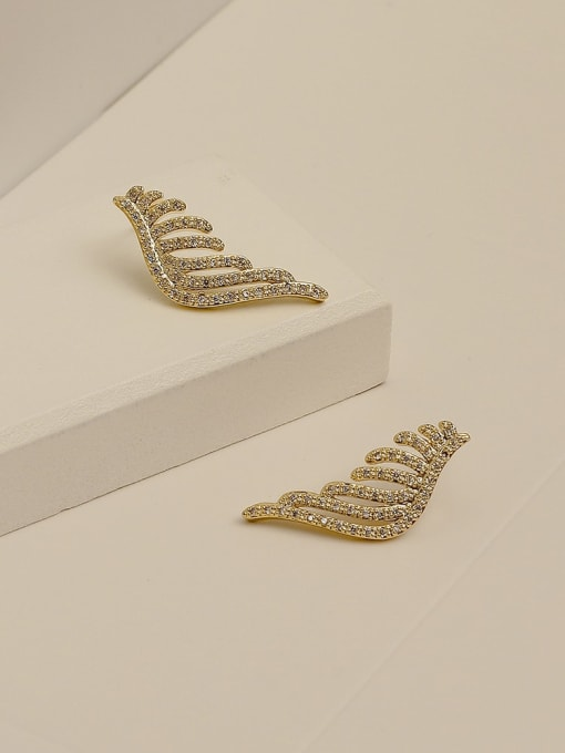 HYACINTH Brass Cubic Zirconia Wing Vintage Stud Earring 3