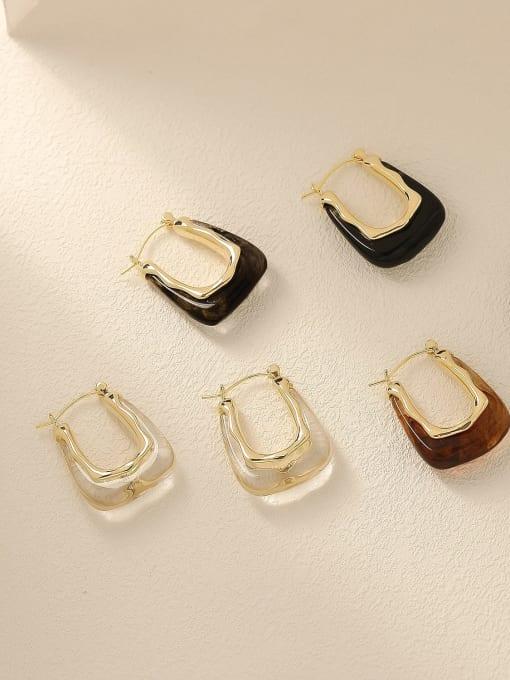 HYACINTH Brass Resin Geometric Vintage Drop Trend Korean Fashion Earring