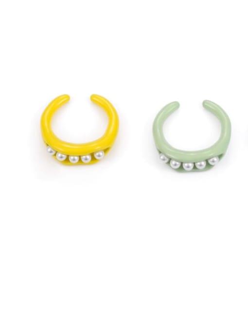 Five Color Zinc Alloy Imitation Pearl Geometric Minimalist Band Ring