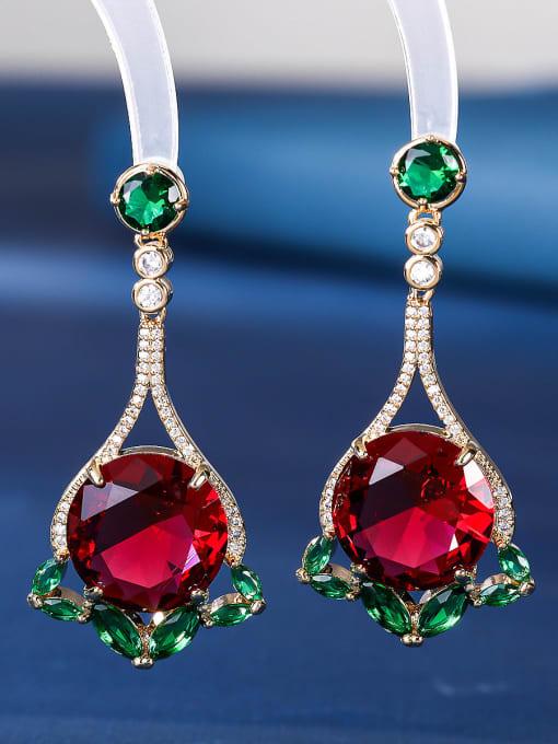 red Brass Cubic Zirconia Geometric Luxury Drop Earring