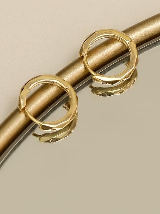 HYACINTH Copper Rhinestone Geometric Minimalist Huggie Earring 1