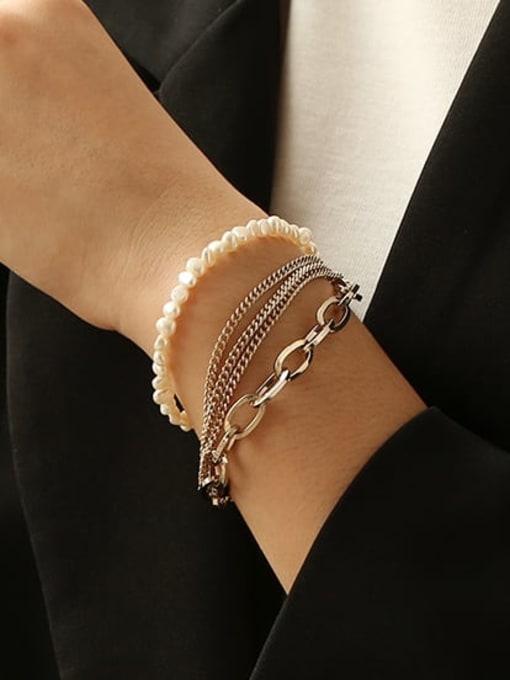 ACCA Brass Freshwater Pearl Geometric Vintage Strand Bracelet 1