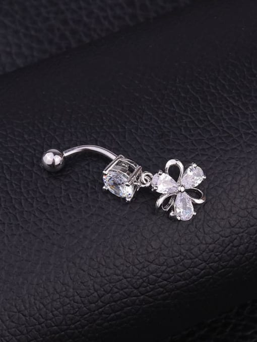 HISON Stainless steel Cubic Zirconia Flower Hip Hop Belly studs & Belly Bars 2