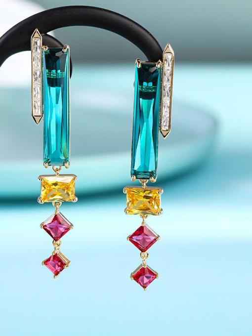 OUOU Brass Cubic Zirconia Geometric Minimalist Drop Earring 1