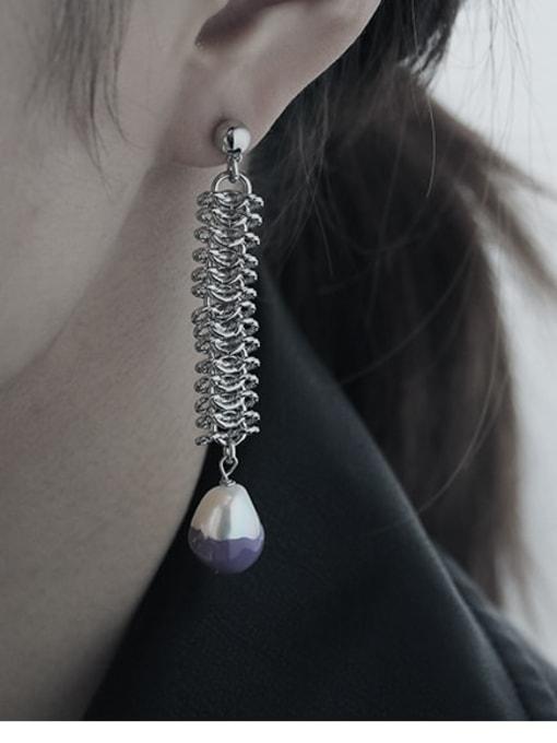 TINGS Brass Tassel Vintage Hollow asymmetric long chain Drop Earring 2