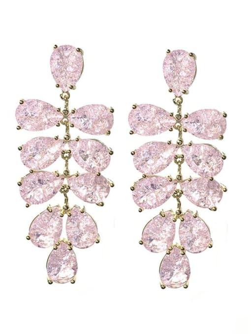Pink Brass Cubic Zirconia Water Drop Leaf Luxury Drop Earring