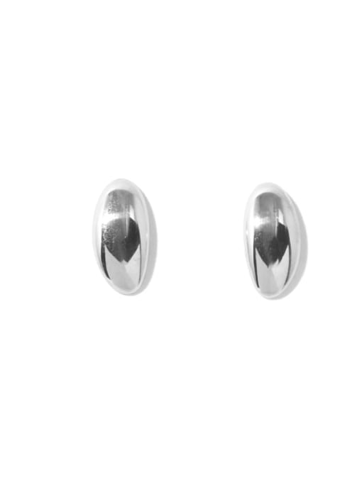 Oval platinum Brass Smooth Irregular Minimalist Stud Earring