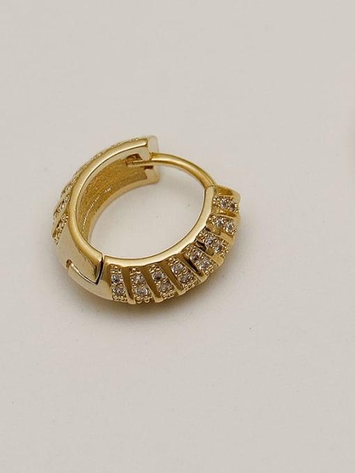 HYACINTH Brass Cubic Zirconia Geometric Vintage Huggie Earring 1