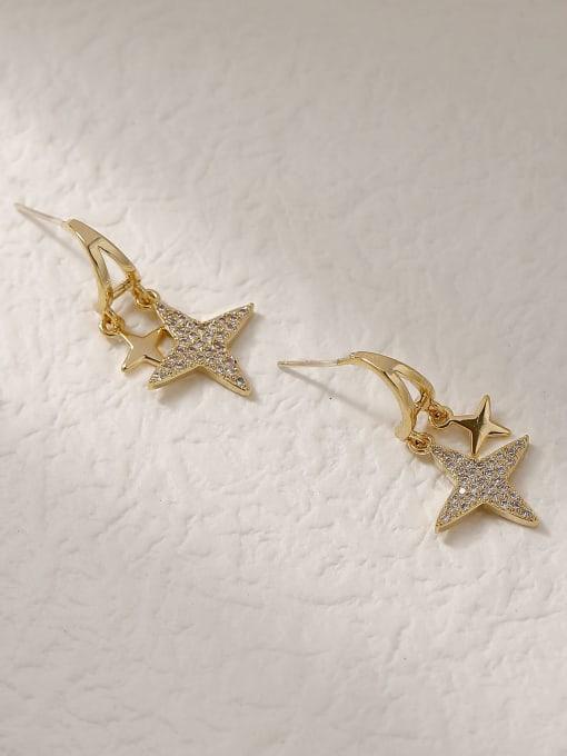 14k Gold Brass Cubic Zirconia Star Vintage Stud Trend Korean Fashion Earring