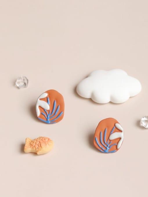 Five Color Alloy Enamel Flower Cute Stud Earring 0