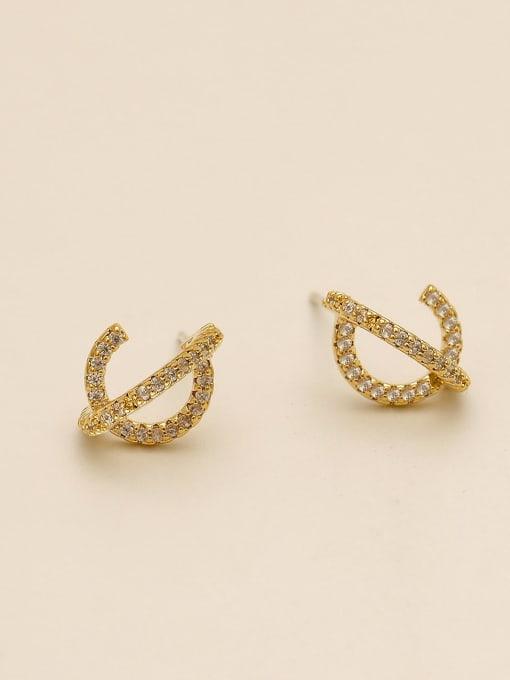 14k Gold Brass Cubic Zirconia Irregular Minimalist Stud Earring