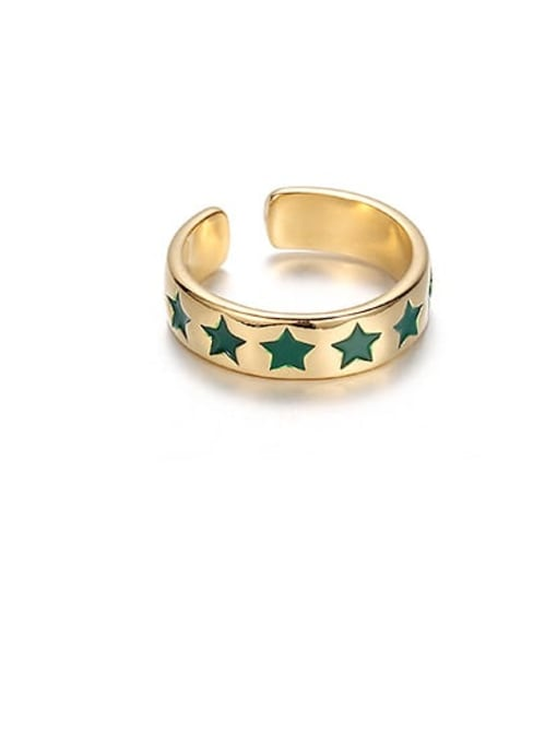 Green Star Brass Enamel Star Minimalist Band Ring