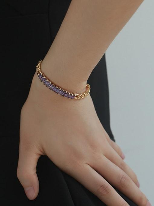 Five Color Brass Cubic Zirconia Geometric Vintage Link Bracelet 3