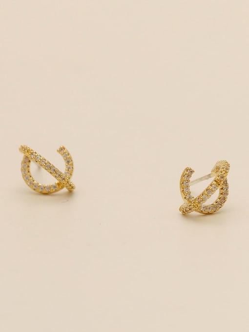 HYACINTH Brass Cubic Zirconia Irregular Minimalist Stud Earring 4