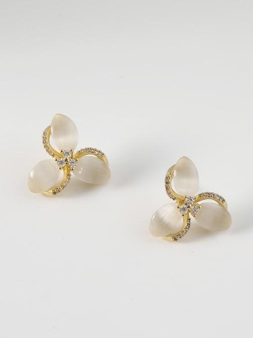 HYACINTH Brass Cats Eye Flower Minimalist Stud Earring 2