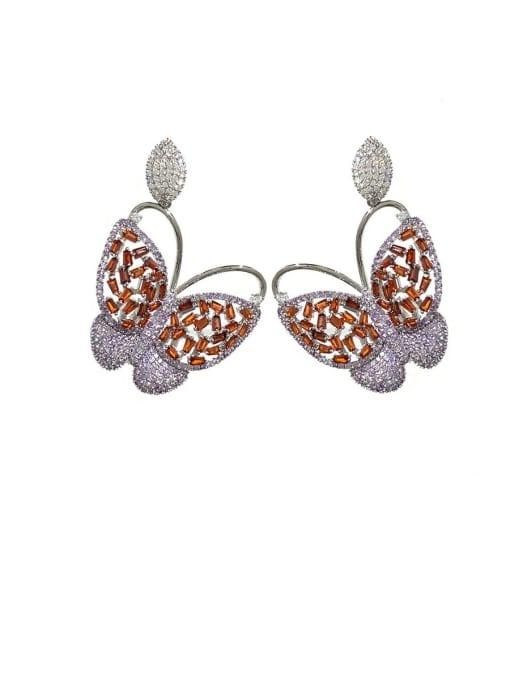 violet Brass Cubic Zirconia Butterfly Vintage Stud Earring