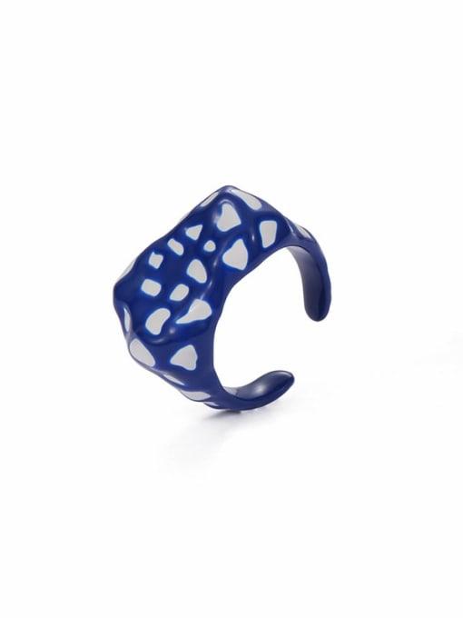 Five Color Zinc Alloy Enamel Geometric Minimalist Band Ring 3