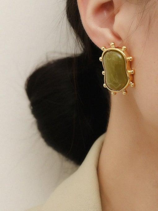 HYACINTH Brass Resin Geometric Vintage Stud Earring 1