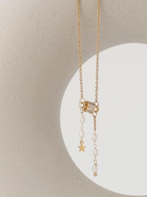 TINGS Brass Cubic Zirconia Tassel Vintage Lariat Necklace
