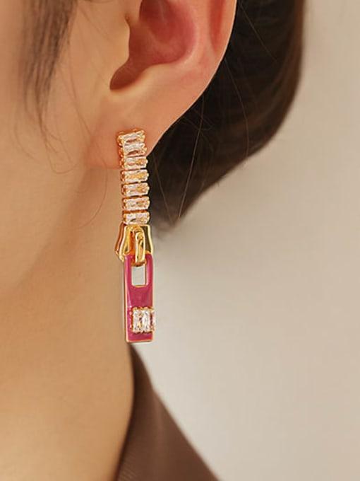 Plum Zinc Alloy Enamel Geometric Minimalist Drop Earring