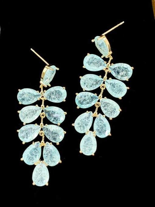 SUUTO Brass Cubic Zirconia Water Drop Leaf Luxury Drop Earring