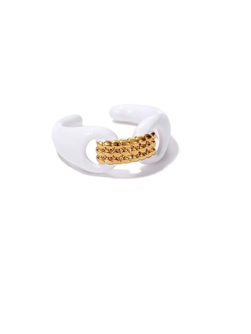 ACCA Zinc Alloy Enamel Geometric Minimalist Band Ring