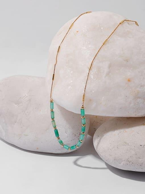 TINGS Brass Zircon Geometric Minimalist Necklace