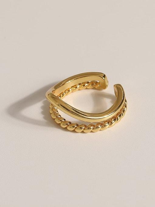 JZ092 Brass Geometric Vintage Band Ring